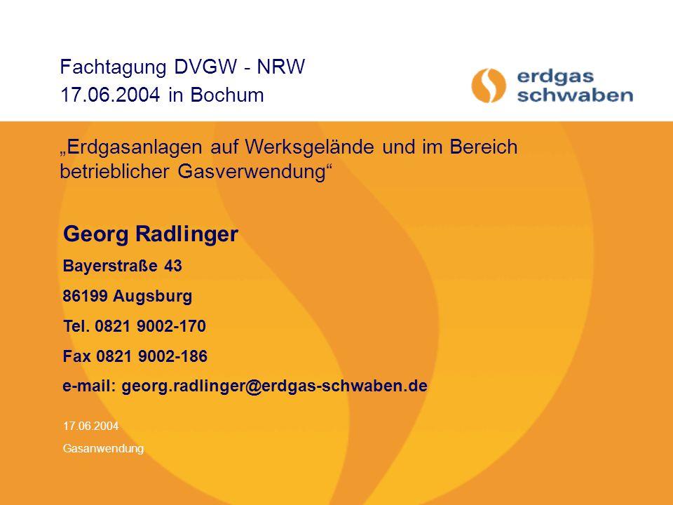 Fachtagung DVGW - NRW 17.06.2004 in Bochum