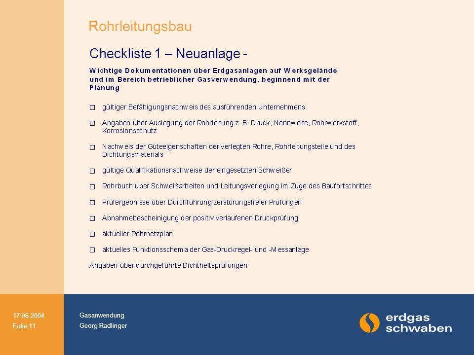 Rohrleitungsbau Checkliste 1 – Neuanlage -