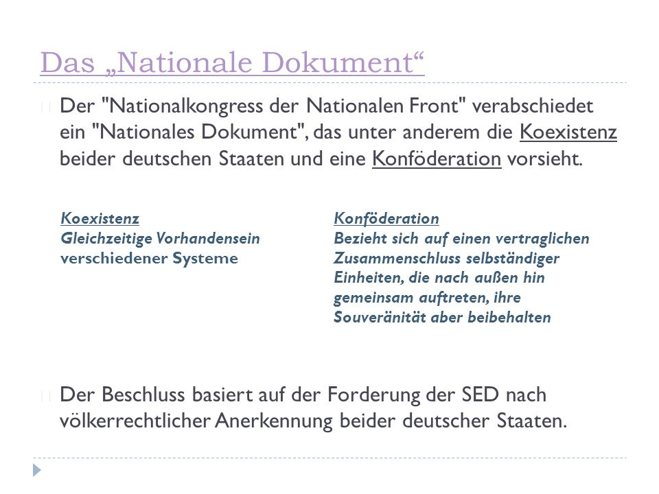 "Das ""Nationale Dokument"