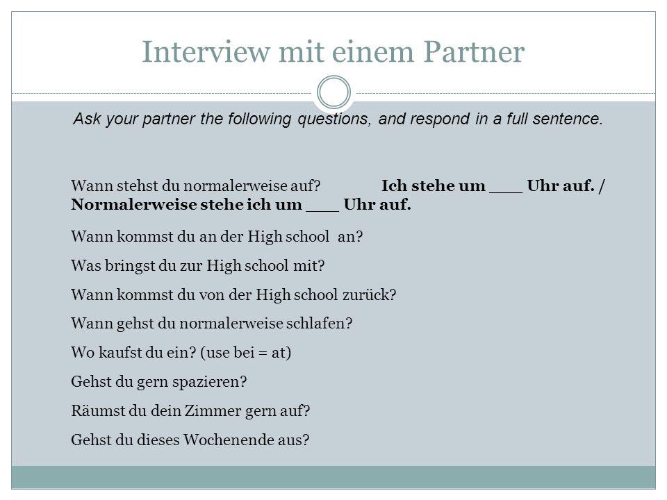 Interview mit einem Partner