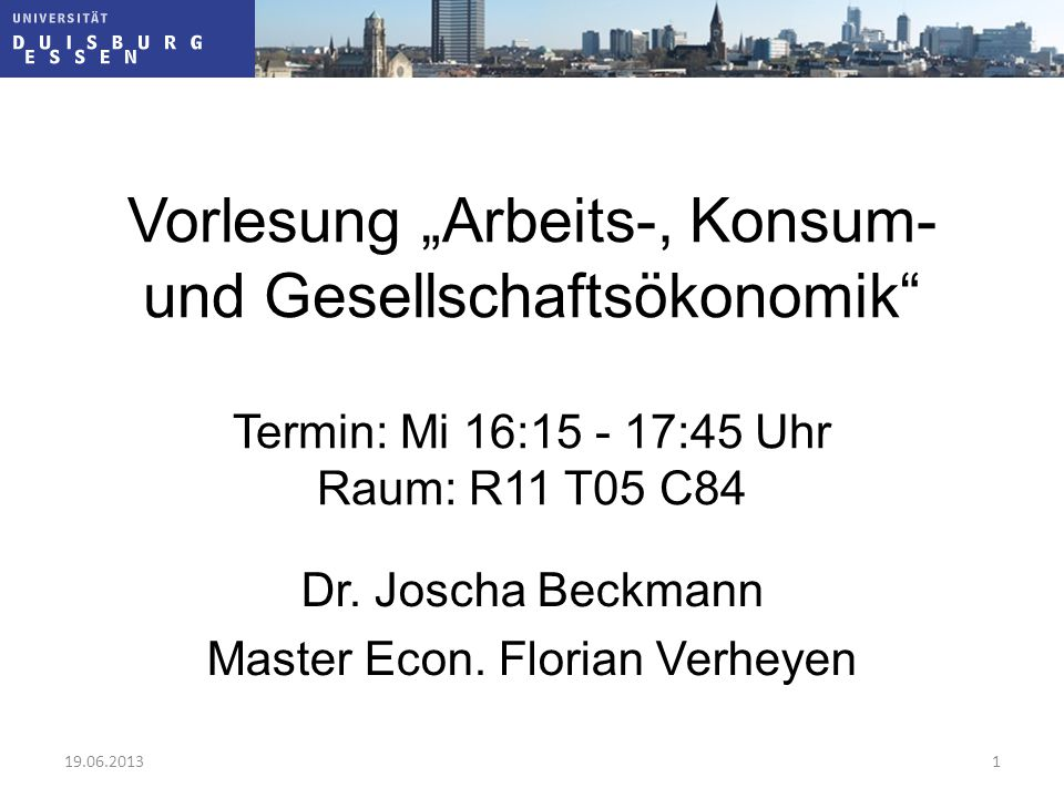 Dr. Joscha Beckmann Master Econ. Florian Verheyen
