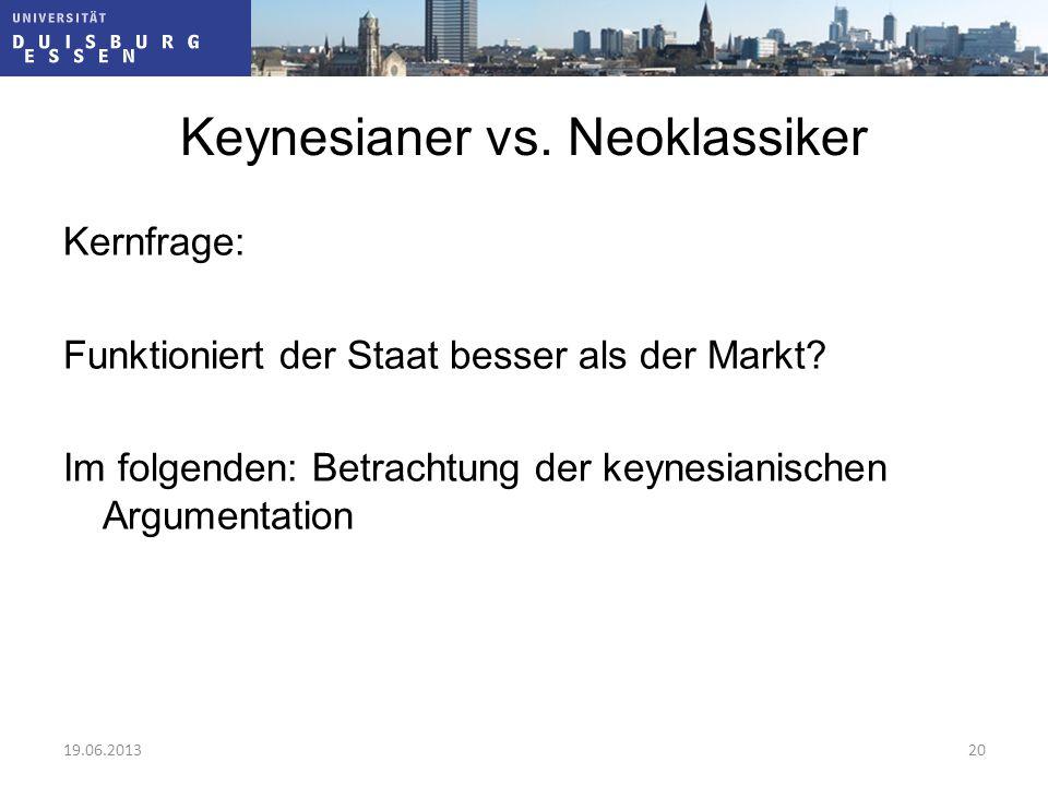Keynesianer vs. Neoklassiker