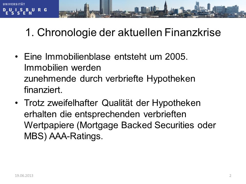 1. Chronologie der aktuellen Finanzkrise