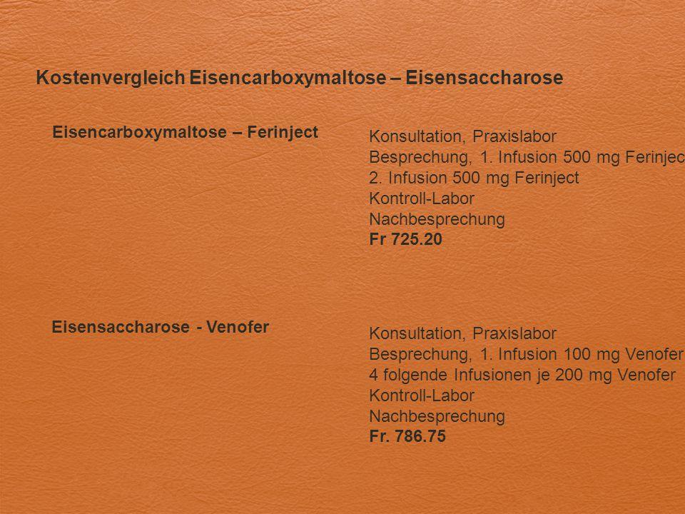 Kostenvergleich Eisencarboxymaltose – Eisensaccharose