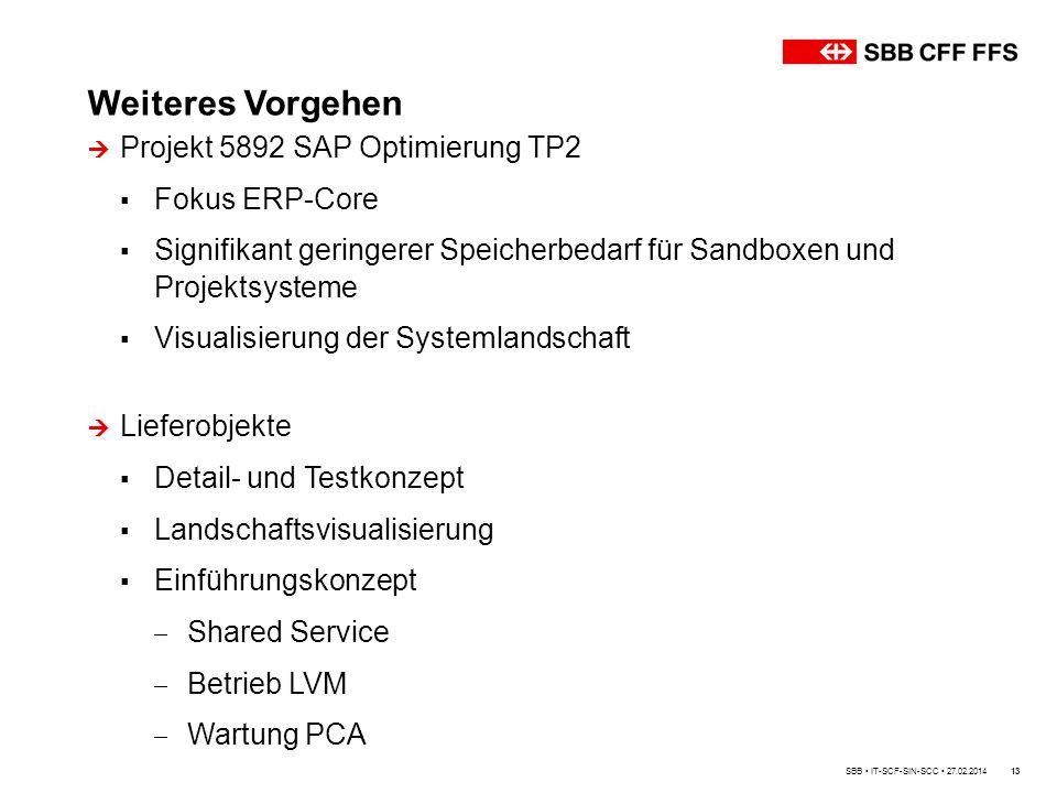 Weiteres Vorgehen Projekt 5892 SAP Optimierung TP2 Fokus ERP-Core