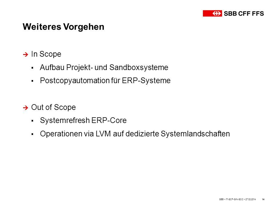 Weiteres Vorgehen In Scope Aufbau Projekt- und Sandboxsysteme