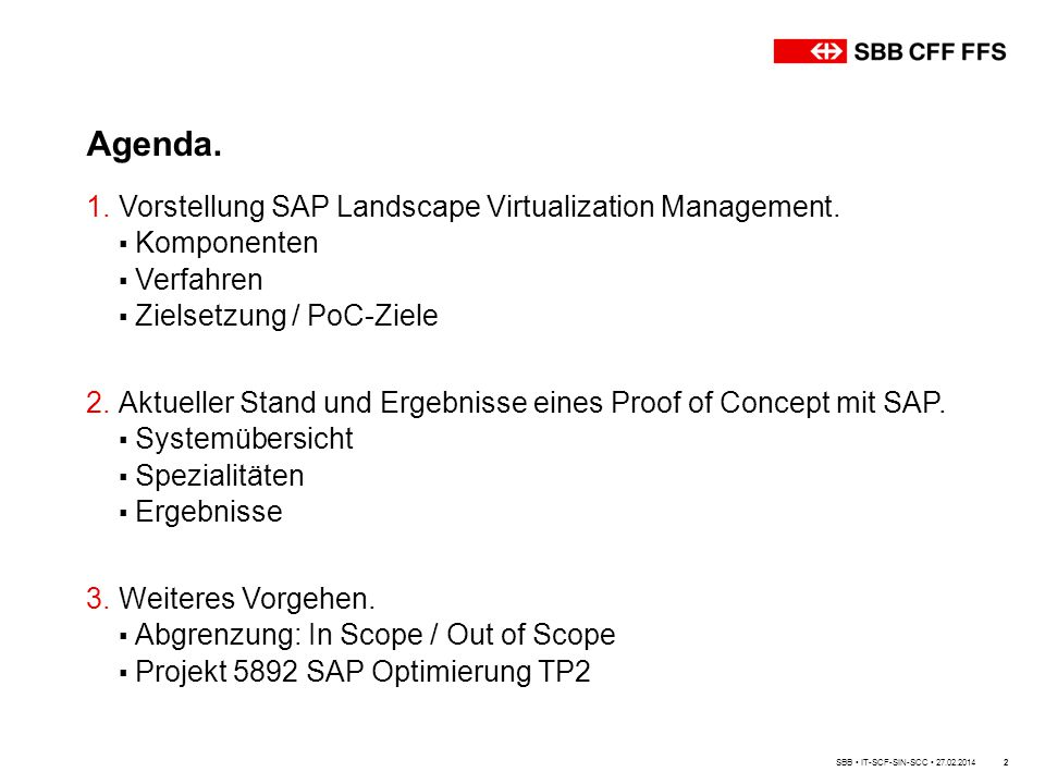 Agenda. Vorstellung SAP Landscape Virtualization Management.