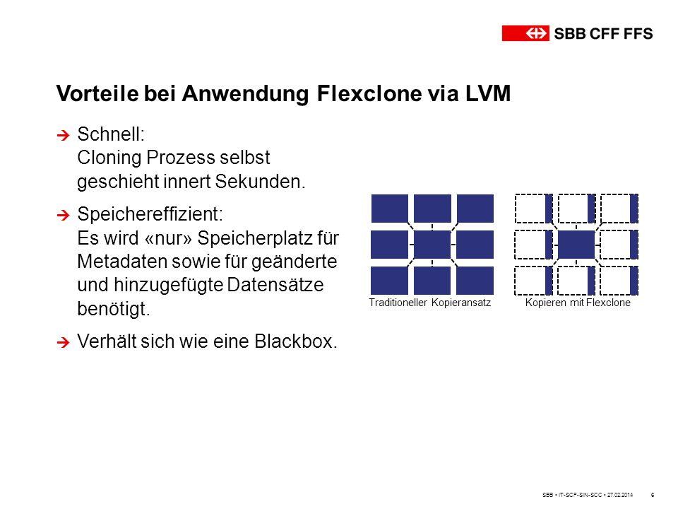 Vorteile bei Anwendung Flexclone via LVM
