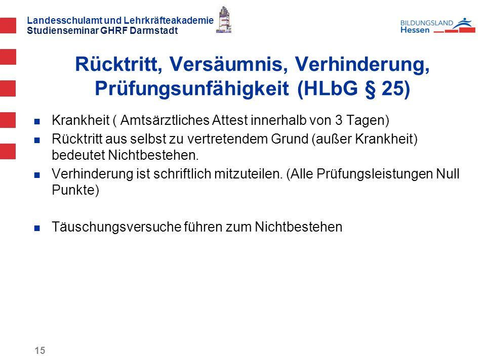 Rücktritt, Versäumnis, Verhinderung, Prüfungsunfähigkeit (HLbG § 25)