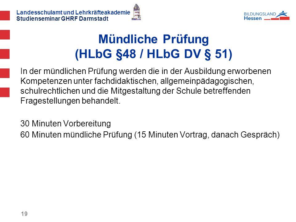 Mündliche Prüfung (HLbG §48 / HLbG DV § 51)