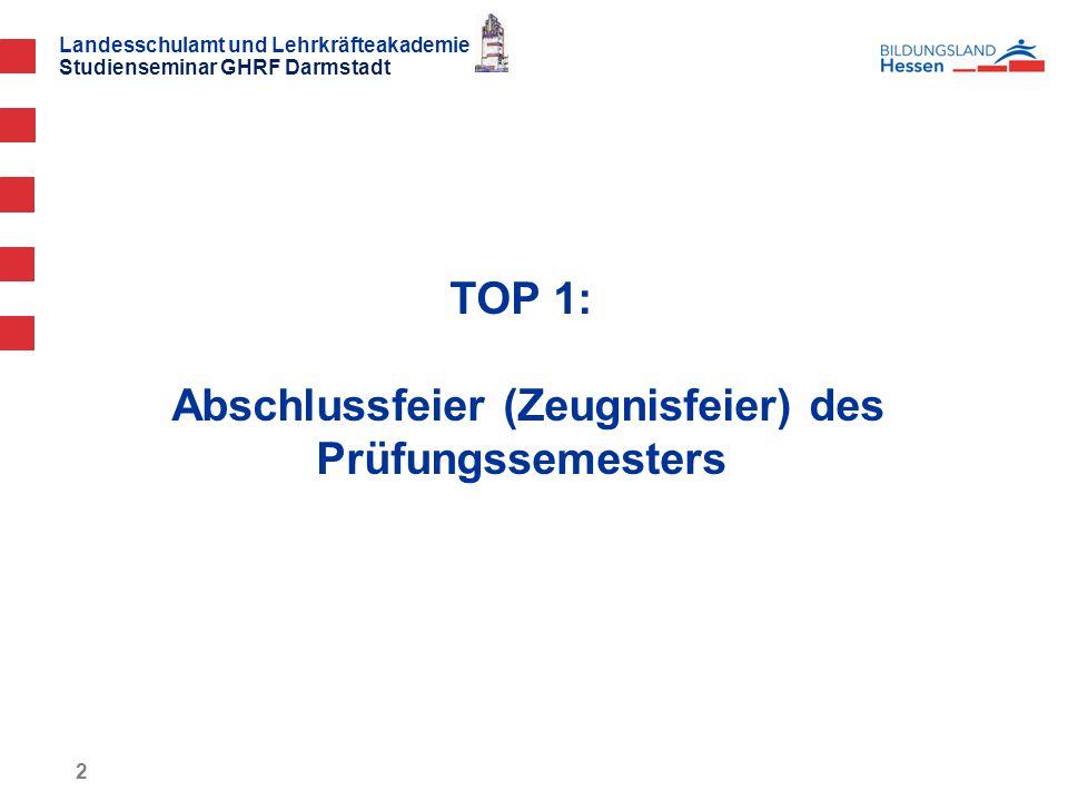 TOP 1: Abschlussfeier (Zeugnisfeier) des Prüfungssemesters