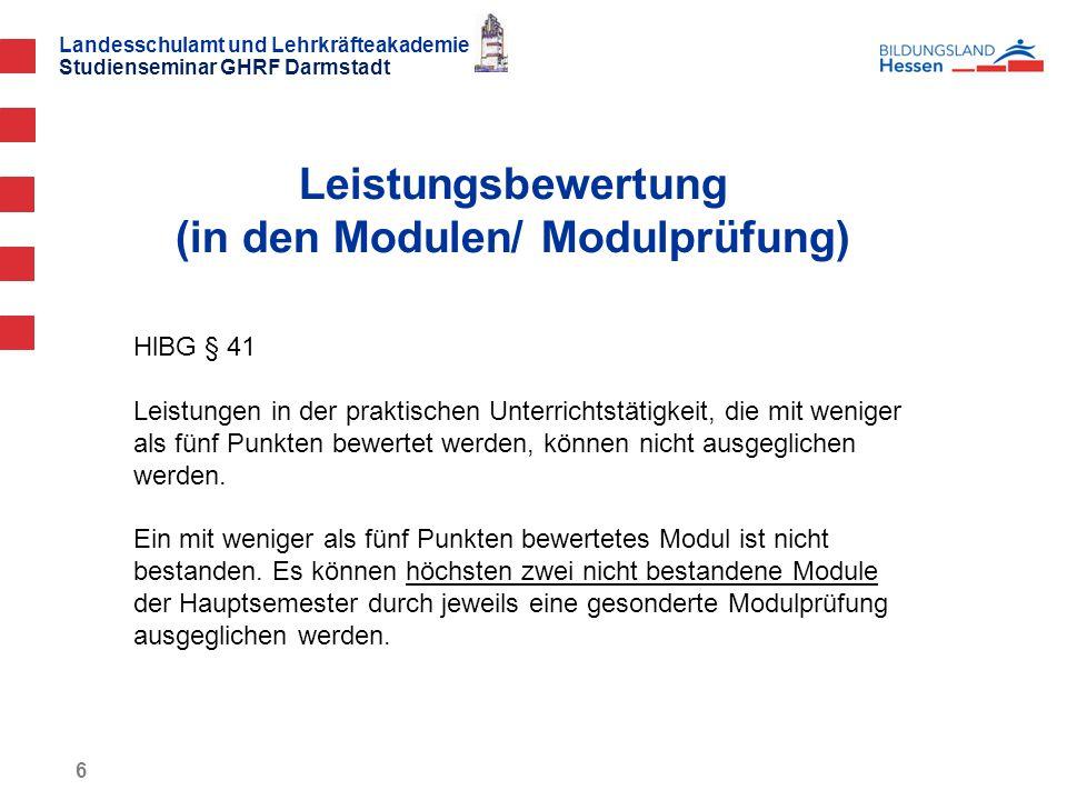 Leistungsbewertung (in den Modulen/ Modulprüfung)