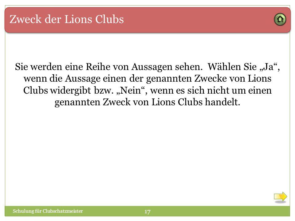 Zweck der Lions Clubs