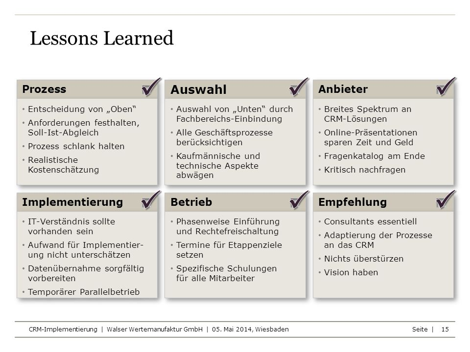    Lessons Learned Auswahl Prozess Anbieter Implementierung