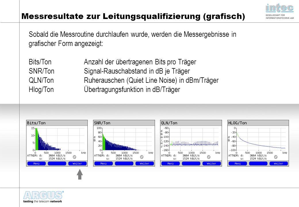 Messresultate zur Leitungsqualifizierung (grafisch)