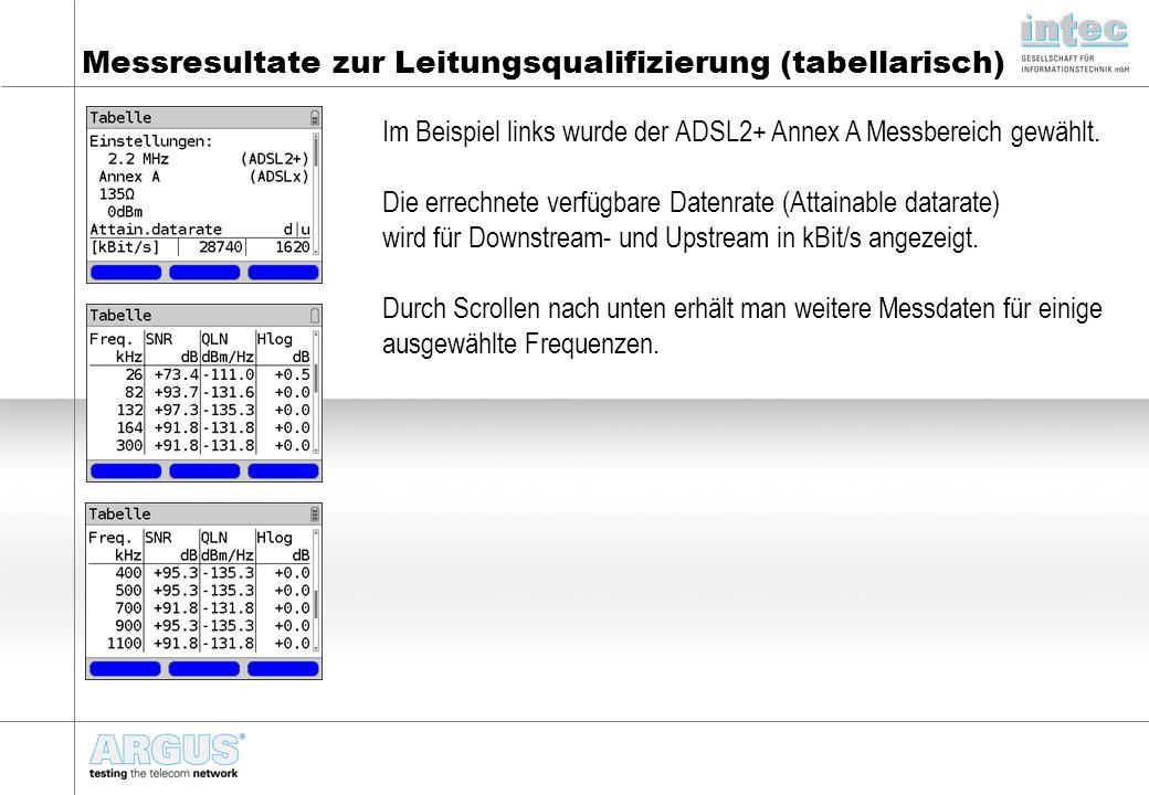 Messresultate zur Leitungsqualifizierung (tabellarisch)