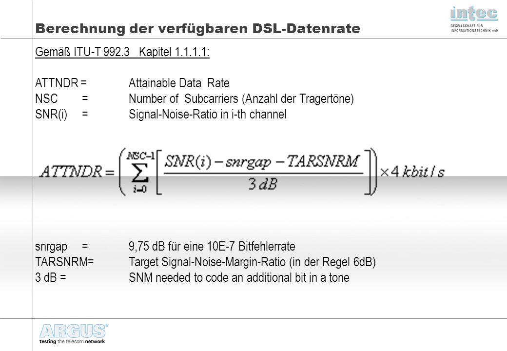 Berechnung der verfügbaren DSL-Datenrate