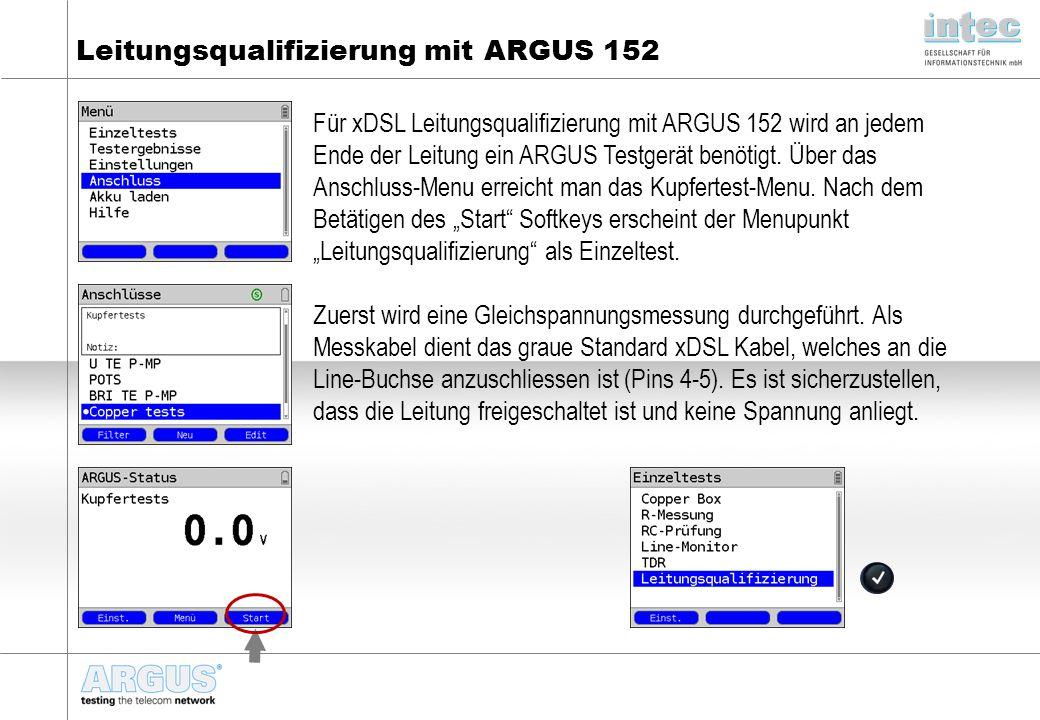 Leitungsqualifizierung mit ARGUS 152