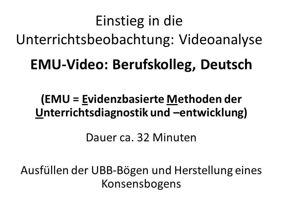 Einstieg in die Unterrichtsbeobachtung: Videoanalyse