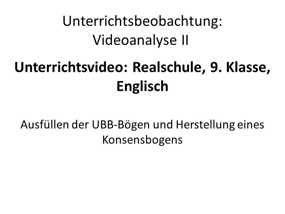 Unterrichtsbeobachtung: Videoanalyse II