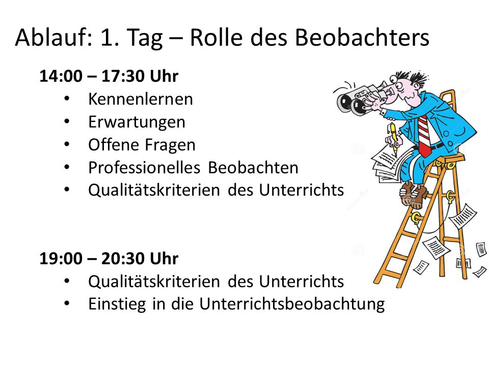 Ablauf: 1. Tag – Rolle des Beobachters