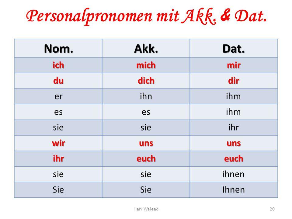 Personalpronomen mit Akk. & Dat.