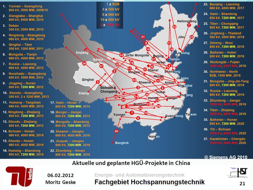 Aktuelle und geplante HGÜ-Projekte in China