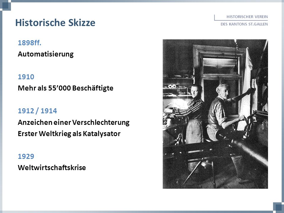 Historische Skizze 1898ff. Automatisierung 1910
