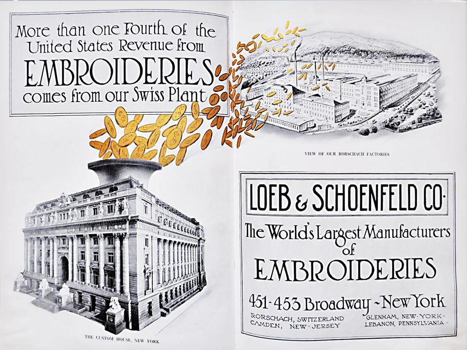 Stickerei Feldmühle 1898 gegründet; grösste Stickerei-Fabrik der Welt