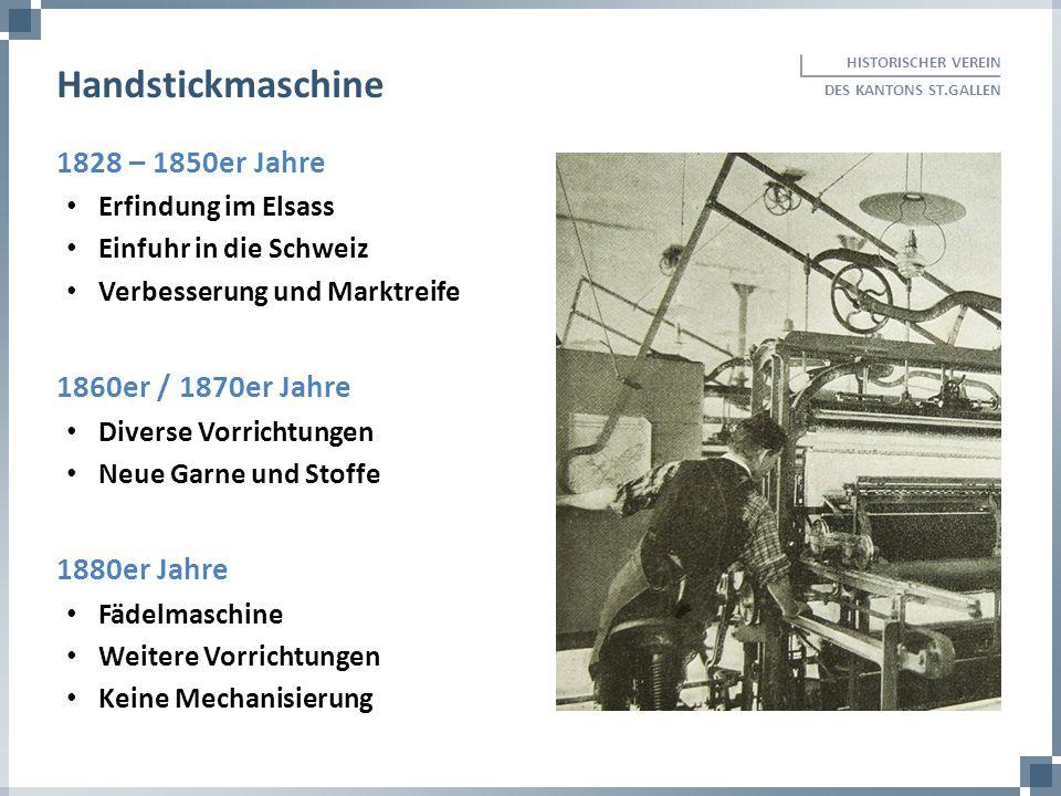 Handstickmaschine 1828 – 1850er Jahre 1860er / 1870er Jahre