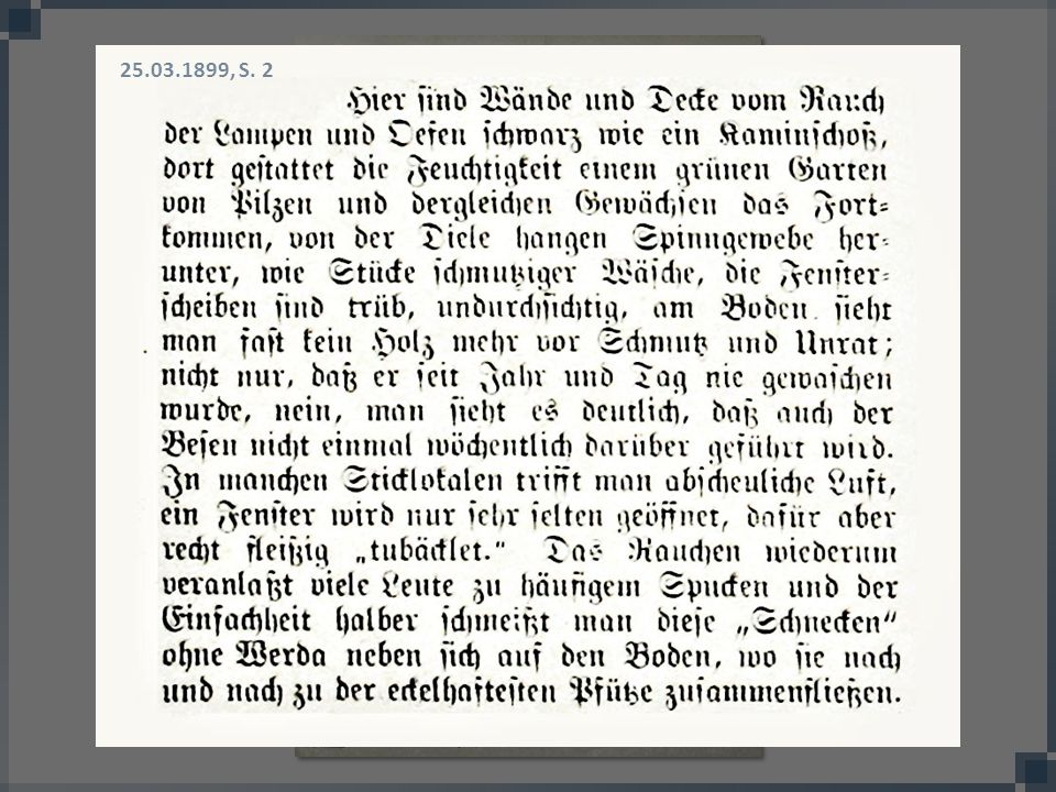 25.03.1899, S. 2 Kontrovers diskutierte Frage: Handelt es sich um eine Kunst, ja oder nein Blick in ein Sticklokal.