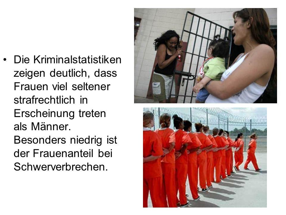 Die Kriminalstatistiken zeigen deutlich, dass Frauen viel seltener strafrechtlich in Erscheinung treten als Männer.