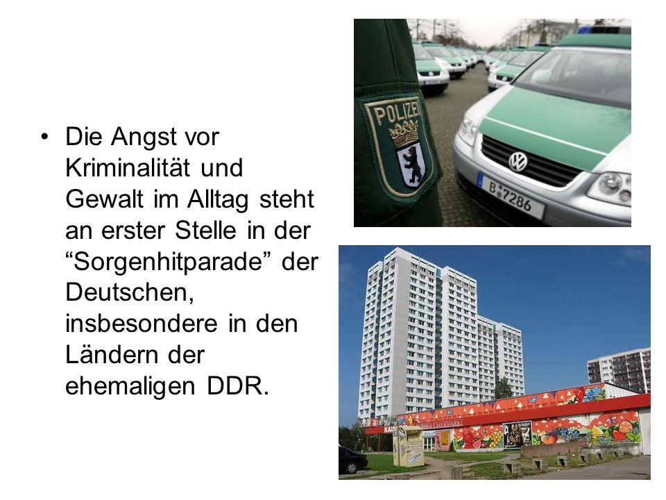 Die Angst vor Kriminalität und Gewalt im Alltag steht an erster Stelle in der Sorgenhitparade der Deutschen, insbesondere in den Ländern der ehemaligen DDR.