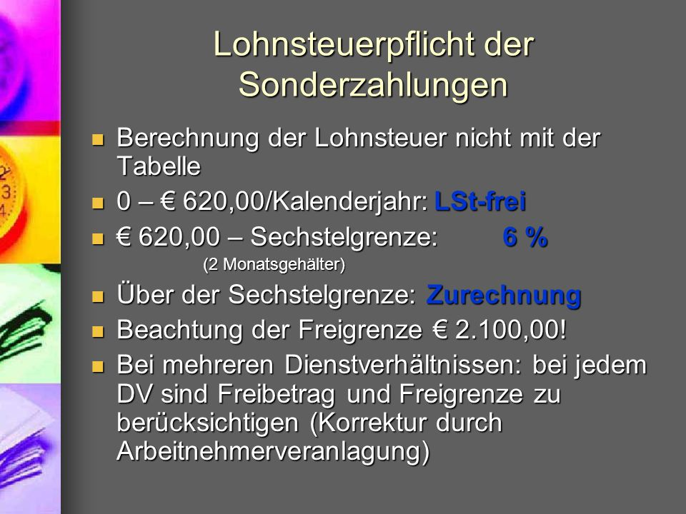 Lohnsteuerpflicht der Sonderzahlungen
