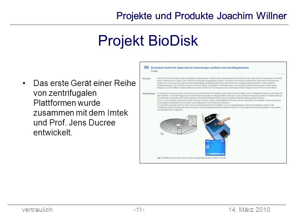 Projekt BioDisk Das erste Gerät einer Reihe von zentrifugalen Plattformen wurde zusammen mit dem Imtek und Prof.