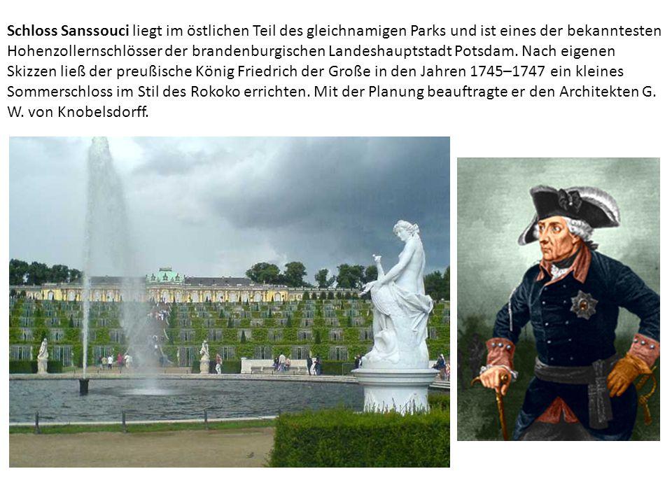 Schloss Sanssouci liegt im östlichen Teil des gleichnamigen Parks und ist eines der bekanntesten Hohenzollernschlösser der brandenburgischen Landeshauptstadt Potsdam.