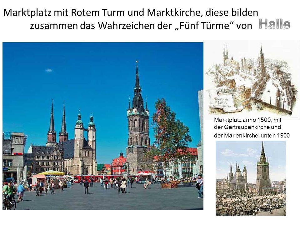 """Marktplatz mit Rotem Turm und Marktkirche, diese bilden zusammen das Wahrzeichen der """"Fünf Türme von"""