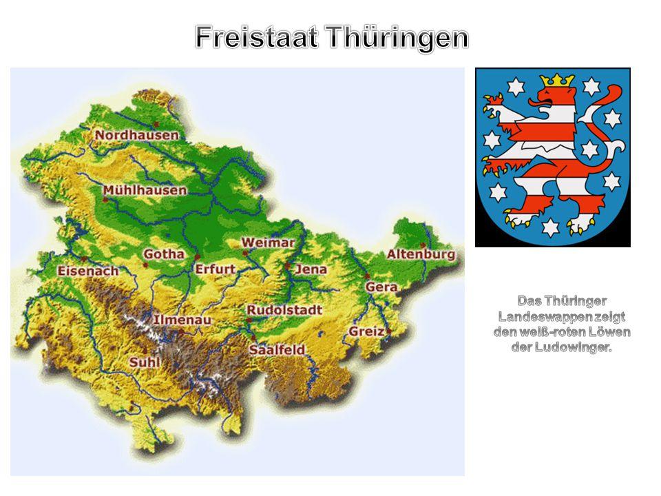 Das Thüringer Landeswappen zeigt den weiß-roten Löwen der Ludowinger.