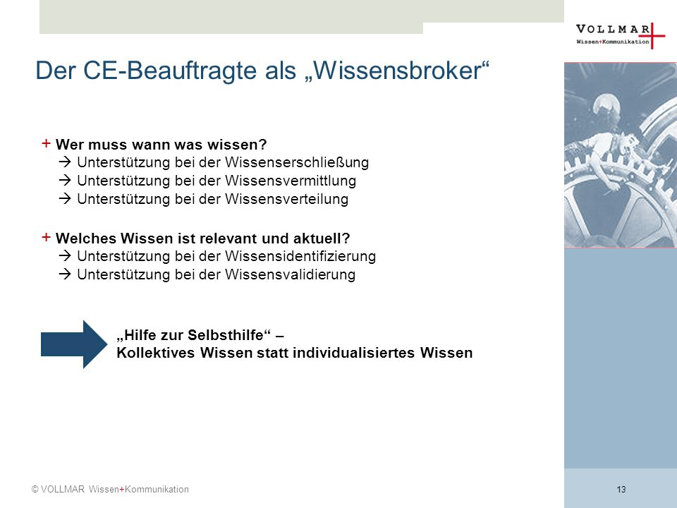 """Der CE-Beauftragte als """"Wissensbroker"""