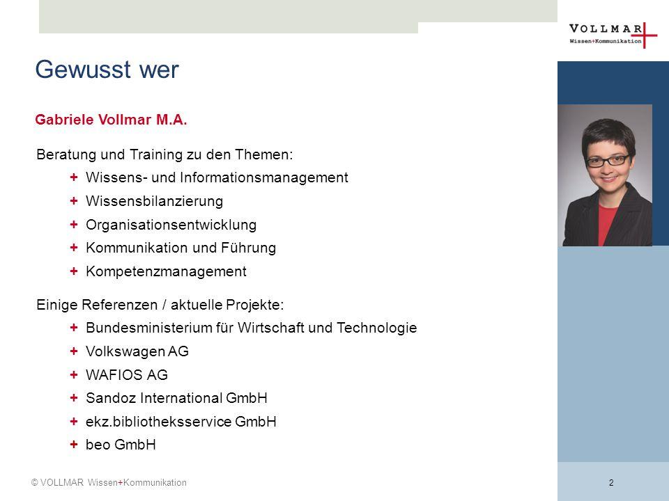 Gewusst wer Gabriele Vollmar M.A. Beratung und Training zu den Themen: