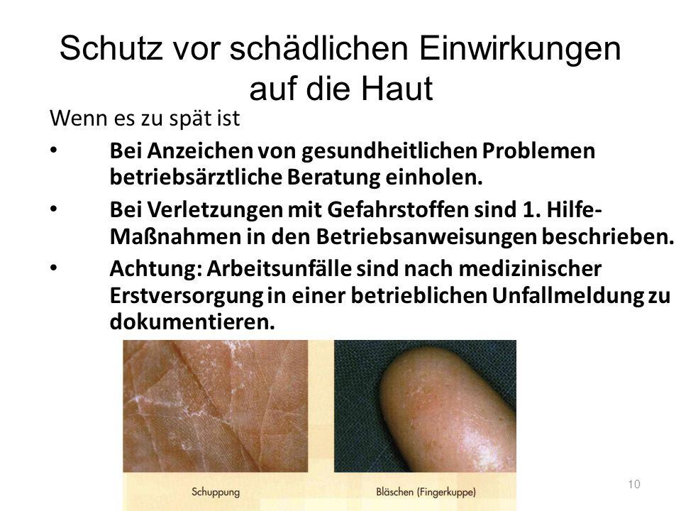 Schutz vor schädlichen Einwirkungen auf die Haut