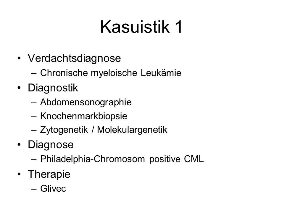 Kasuistik 1 Verdachtsdiagnose Diagnostik Diagnose Therapie