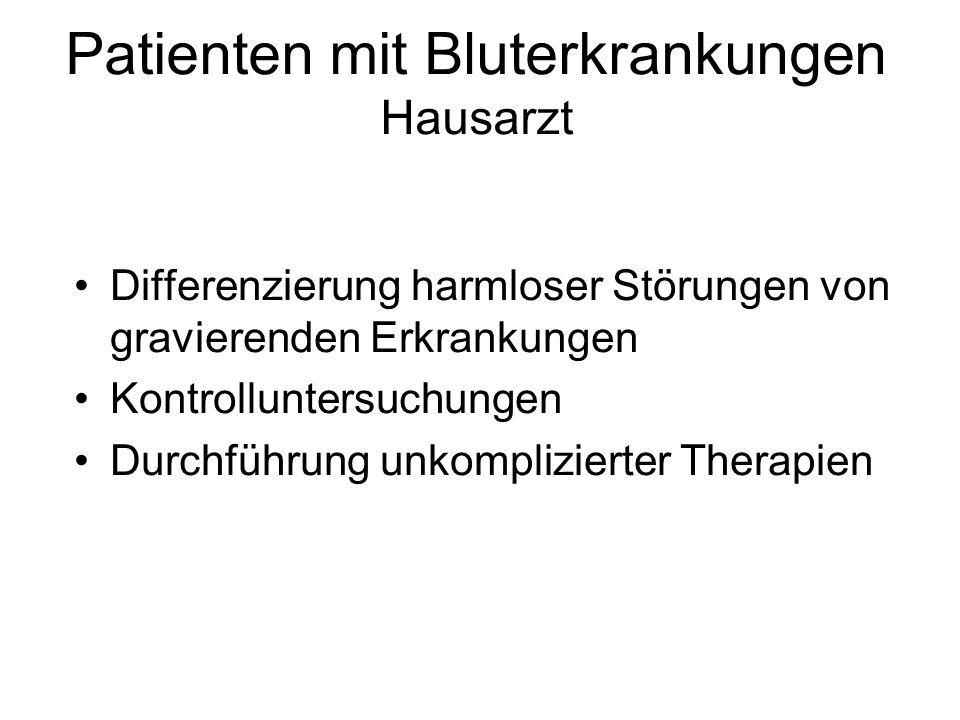 Patienten mit Bluterkrankungen Hausarzt