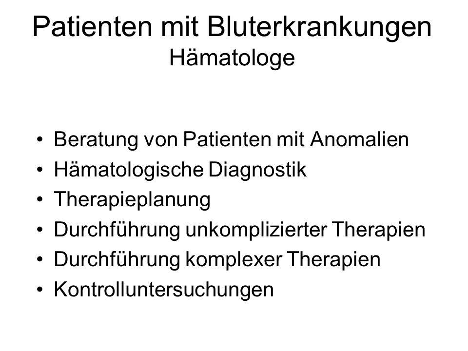 Patienten mit Bluterkrankungen Hämatologe