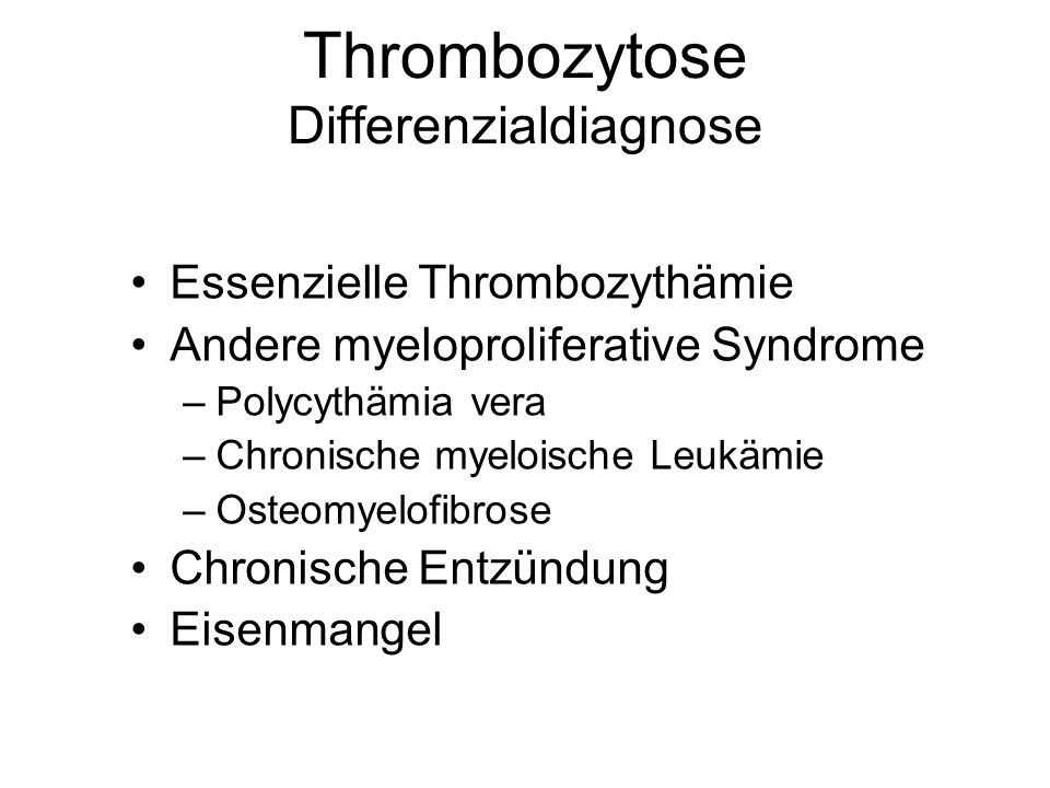 Thrombozytose Differenzialdiagnose