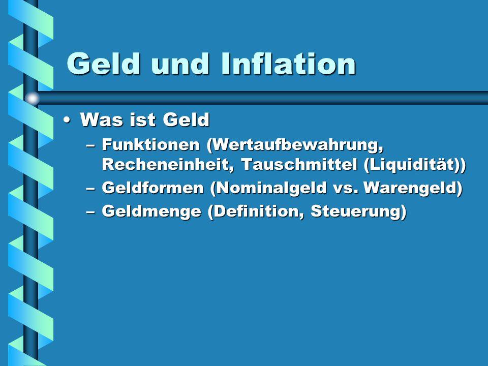 Geld und Inflation Was ist Geld
