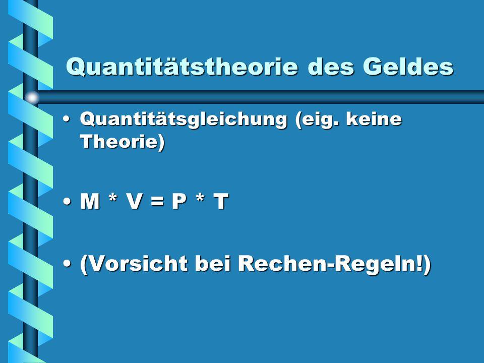 Quantitätstheorie des Geldes