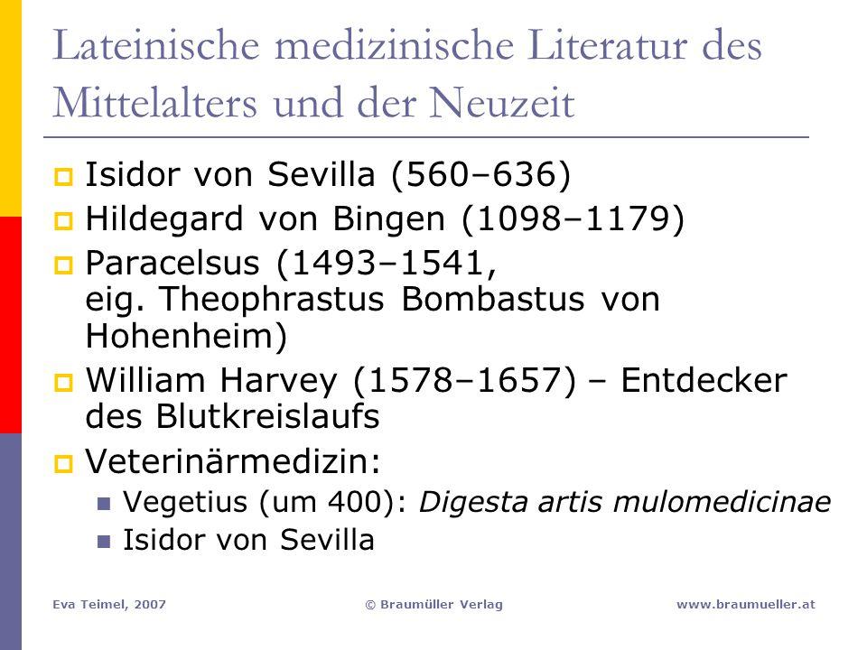 Lateinische medizinische Literatur des Mittelalters und der Neuzeit