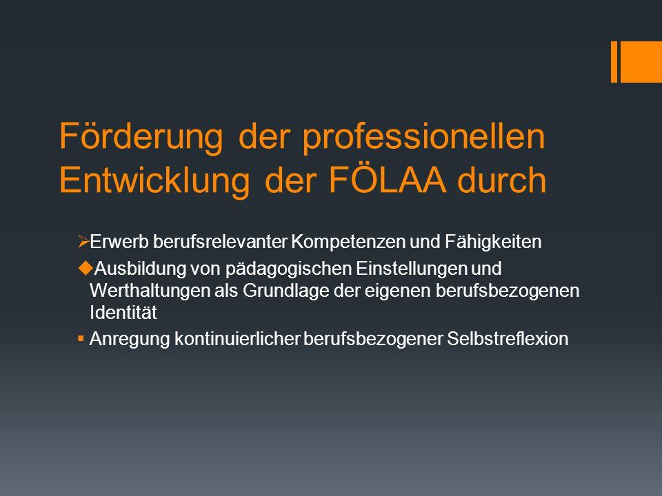 Förderung der professionellen Entwicklung der FÖLAA durch