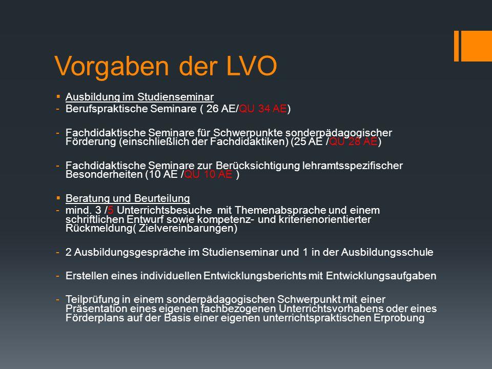 Vorgaben der LVO Ausbildung im Studienseminar